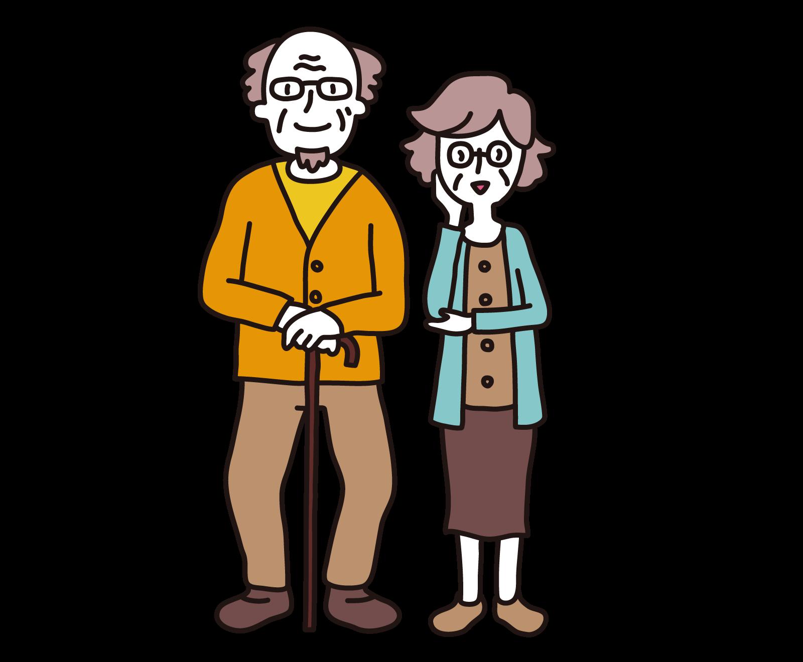 高齢者の夫婦のイラスト